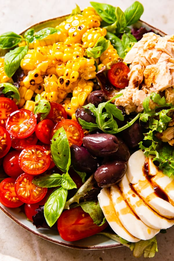 Italian salad with tuna, mozzarella, and corn