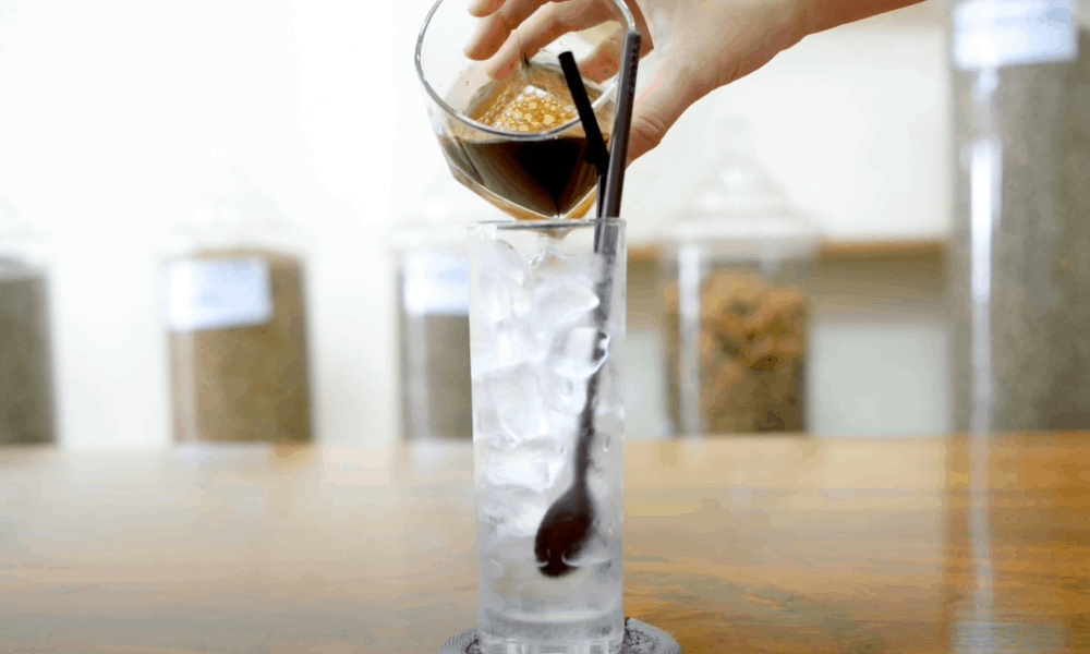 Pour the coffee mixture over ice cubes