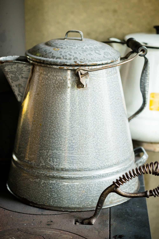 Tin coffee pot