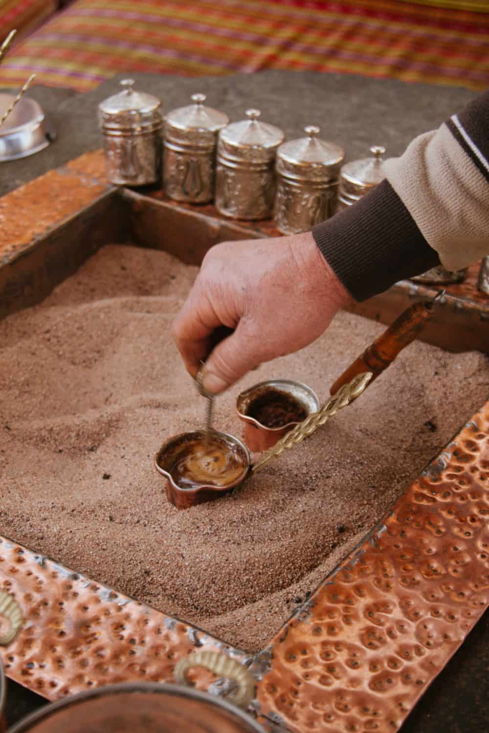 Turkish coffee, 1 heaped tablespoon per cup