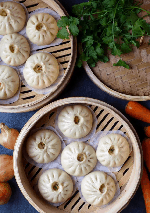 Chinese Street Food Baozi (Stuffed Steamed Buns)