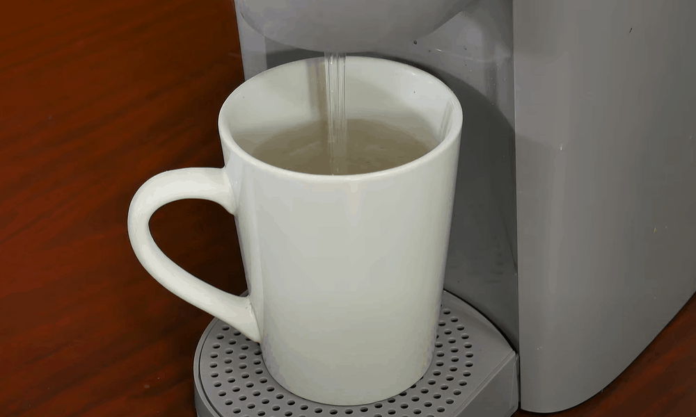 Pour away the hot water from your mug and repeat the process