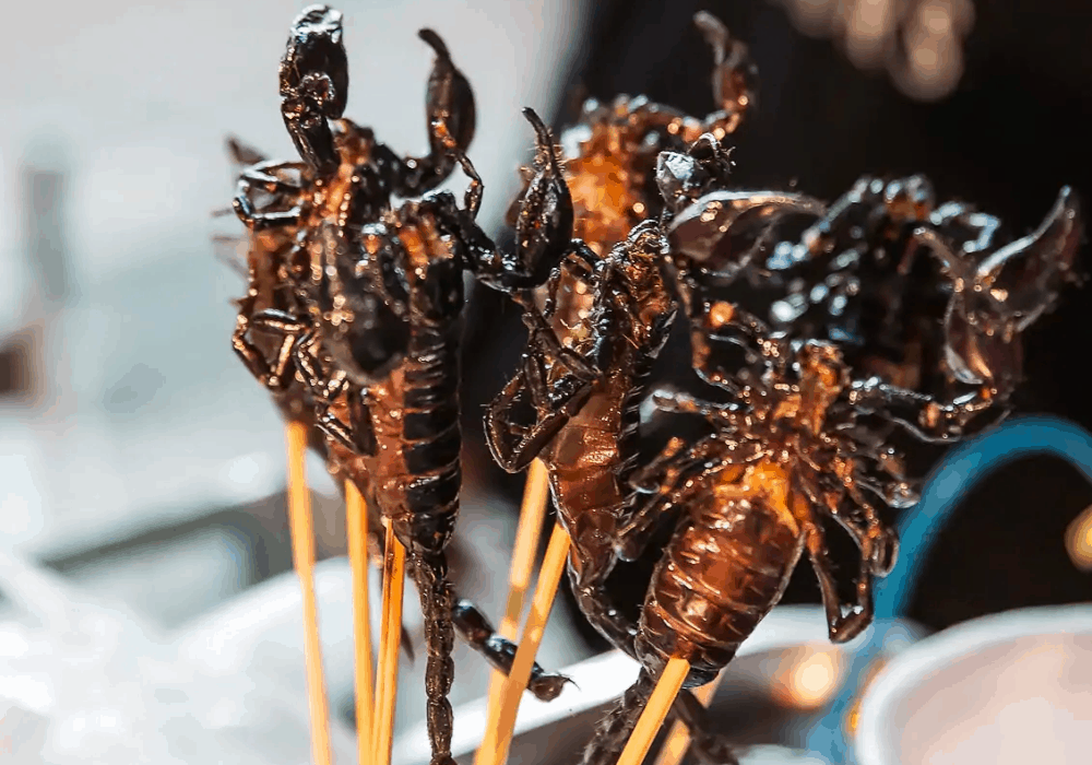 Bangkok Street Food Malaeng Tod (Fried Bugs)
