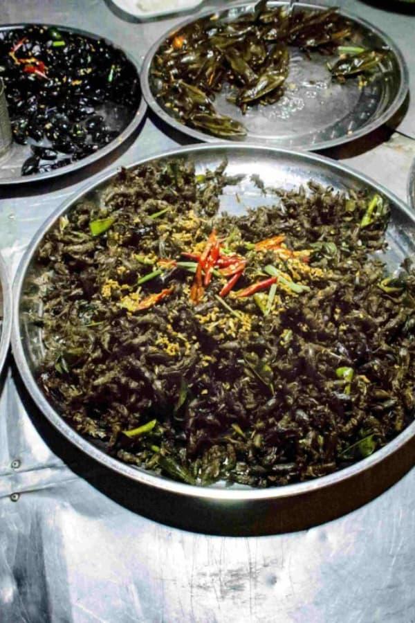 Cambodian Street Food Fried Bugs