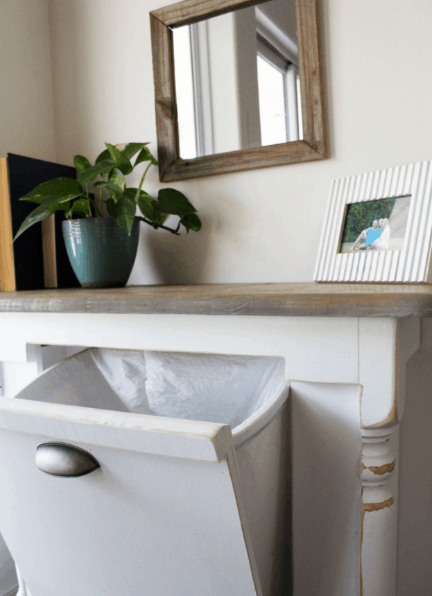 Create a Repurposed Table Turned Wood Tilt Out Trash Can