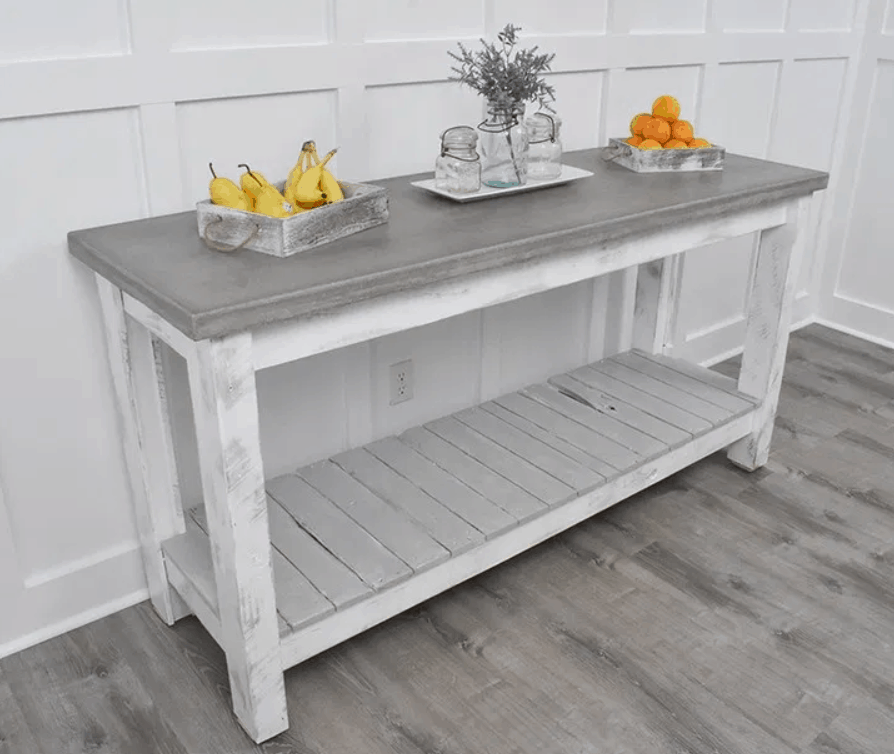 DIY Buffet Table with Pallet Wood, Concrete