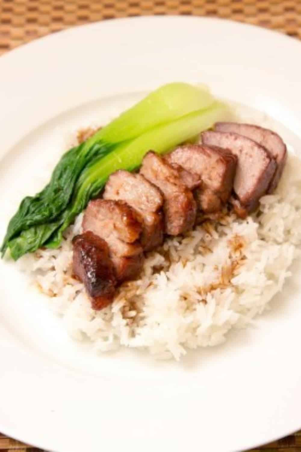 Hong Kong Street Food Red Barbecued Pork on Rice