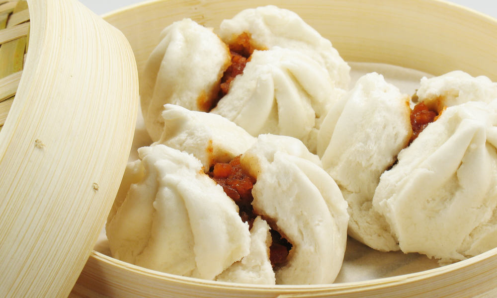 Hong Kong Street Food Steamed Buns with Barbecued Pork