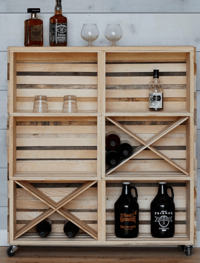 How to Build a Bar Cart with Crates