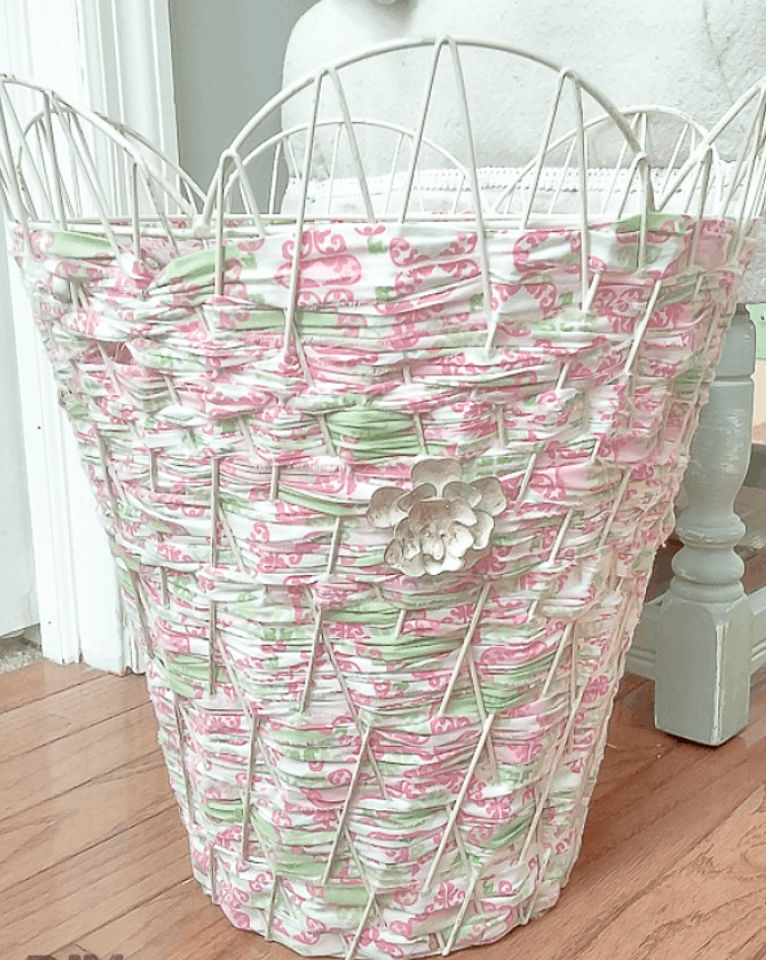 Use Fabric Strips to Weave a Metal Basket