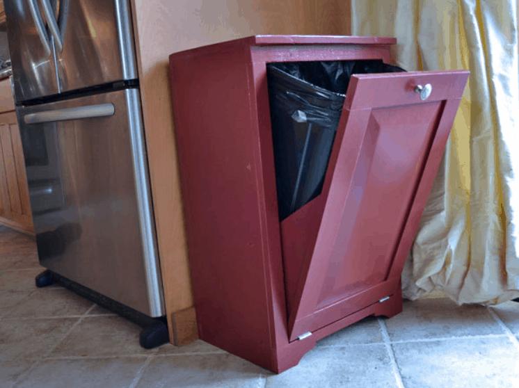 Wood tilt out Trash Cabinet