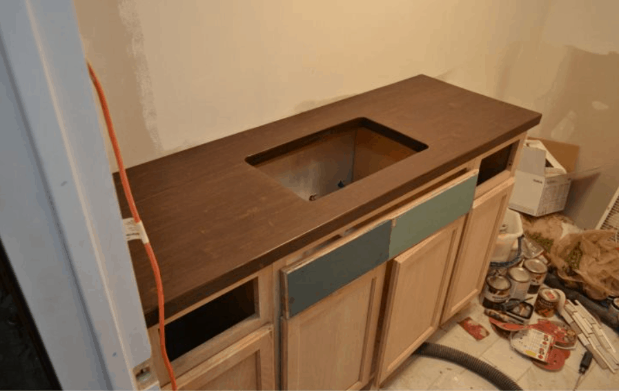 DIY Butcher Block-Style Countertop With Undermount Sink