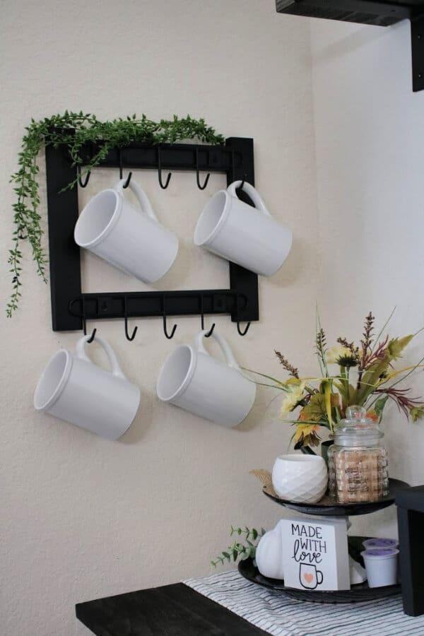 DIY Coffee Mug Rack without Power Tools