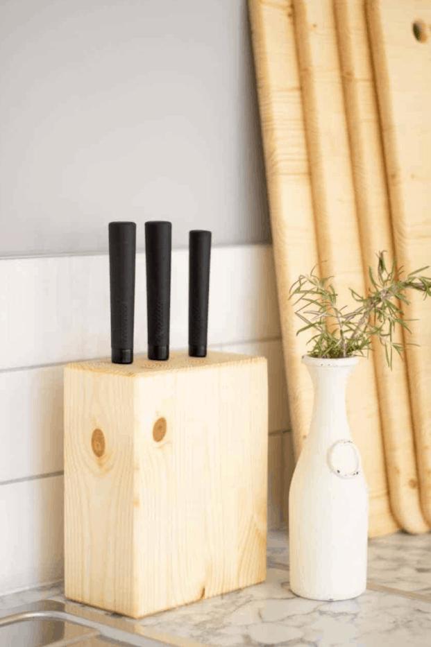 DIY Wooden Knife Block Set