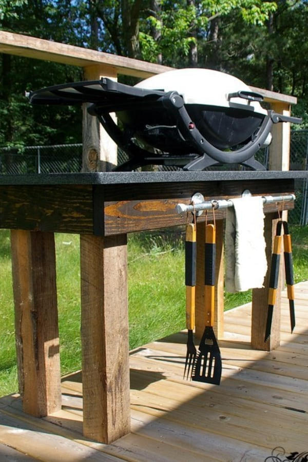 Grill Station – Tutorial build with granite and 4×4 posts