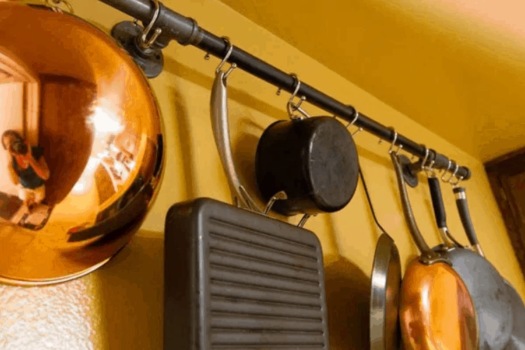 How to Make a DIY Pot Rack Made from Pipes Purchased from a Home Supply Store